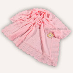 Pink Knitted Baby Shawl Floral Pattern