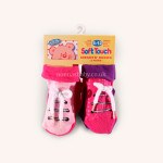 Two Pairs of Non-Slip Bow Lace Socks Pink and Purple