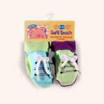 Two Pairs of Non-Slip Bow Lace Socks Blue, Green and Purple