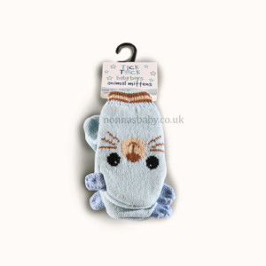 Cute Knitted Animal Mittens Blue Cat