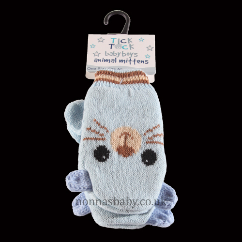 Cute Knitted Animal Mittens Blue Cat Nonna S Baby