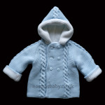 Double Knitted Hooded Pram Coat Blue