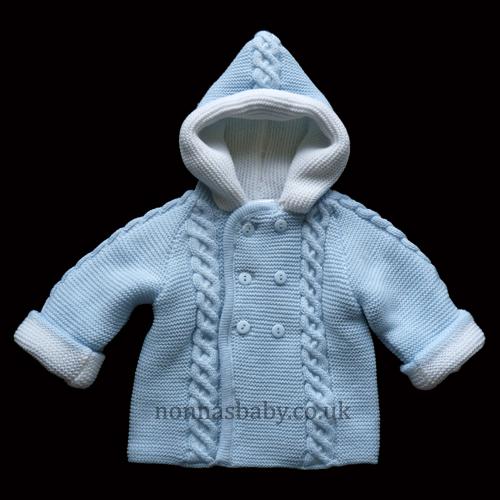 Double Knitted Hooded Pram Coat Blue