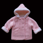 Double Knitted Hooded Pram Coat Pink