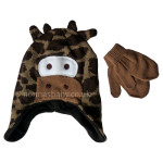 Unisex Knitted Cow Hat and Mittens