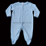 Blue Cotton All-in-One with Mittens on Cuff
