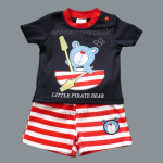"Cute Navy Blue Little Boys ""Little Pirate Bear"" Top and Shorts Set"
