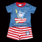"Cute Blue Little Boys ""Little Pirate Bear"" Top and Shorts Set"