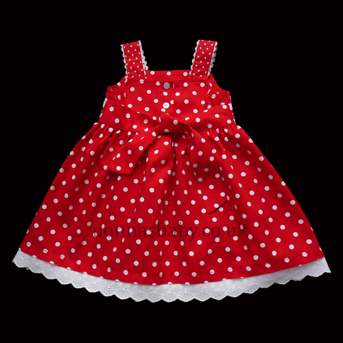 Red Cotton Dress With White Dots And White Anglaise Frill
