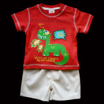 "Funky Red/Beige Little Boys ""Silly Dino!!"" Set"