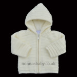Knitted Unisex Cream Pram Coat With Fleece Lining