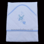 "100% Cotton ""Sweet Dreams"" Baby Towel – White and Blue"