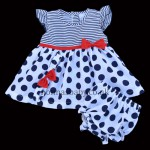Baby Dots and Stripes Dress Red Bow