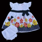 Baby Flowers Dress With Navy Bow