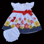 Baby Flowers Dress With Red Bow