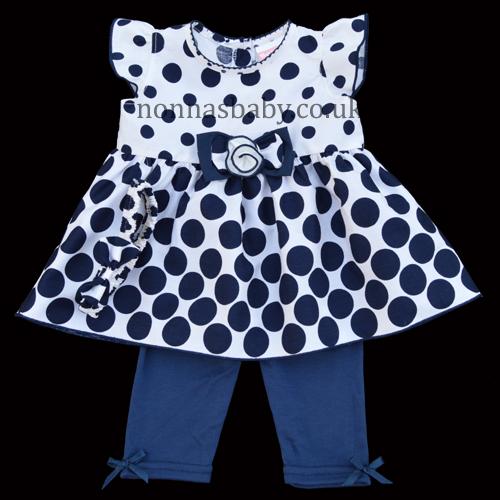 Navy Polka Dots Baby Girl Set Dress And Leggings Nonna