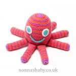 Fair Trade Cotton Crochet Octopus Pink Rattle