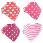 "Fun Bandana Bibs Set ""Pink Geometric"" With Two Poppers"