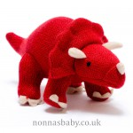 Knitted Dinosaur Triceratops Red