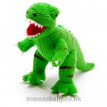 Knitted Large Dinosaur T Rex Green