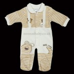 """Little Cutie"" Beige/Cream Velour All-In-One for Boys and Girls"