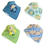 "Fun Bandana Bibs Set ""Cloudbabies Baba Blue and Baba Green"" With Two Poppers"