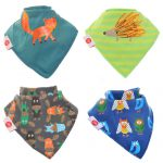 "Fun Bandana Bibs Set ""Woodland Animals"" With Two Poppers"