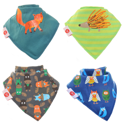 Fun Bandana Bibs Set Woodland Animals With Two Poppers